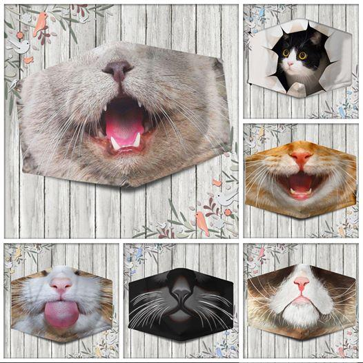 Halloween Funny Cat Mouth Full printed Face Mask #H