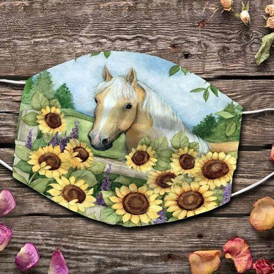 Horse Love Sunflower Art Full printed Face Mask #HL