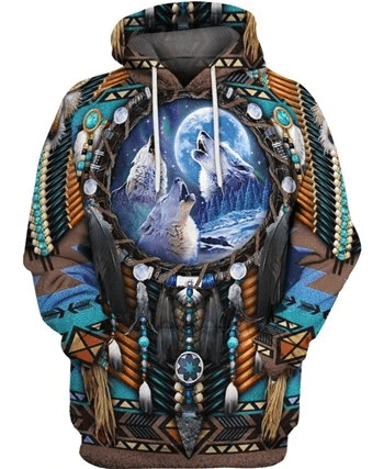 Native Amerian Wolf Dreamcatcher Hoodie 3D All Over Print #HL