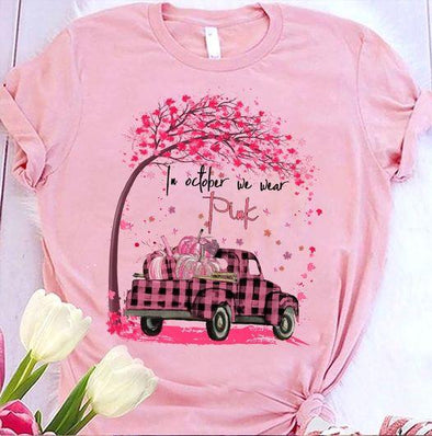 In October We Wear Pink Pumpkin Truck Breast Cancer Awareness T-shirt #0309V
