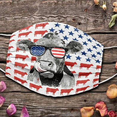 Funny Heifer Wear Sunglasses American Flag Full printed Face Mask