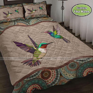 Beautiful Hummingbirds Mandala Quilt Bed Set