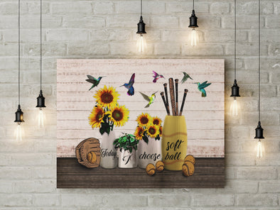 Today I choose Softball Hummingbird and Sunflower Canvas Wall Art #1507dh