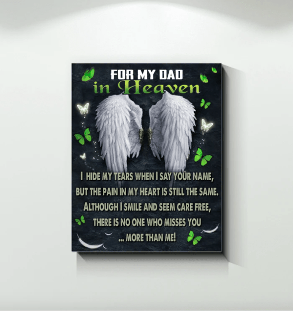 For my Dad in Heaven Father's Day Canvas Print Wall Art