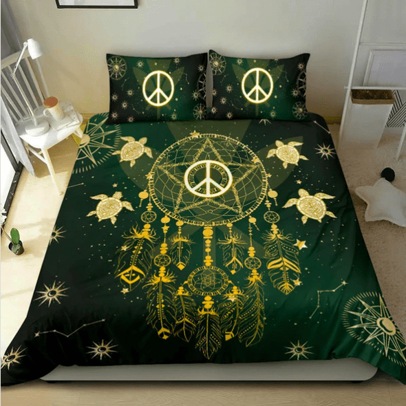 Green Hippie Dreamcatcher Turtle Custom Duvet Cover Bedding Set with Your Name