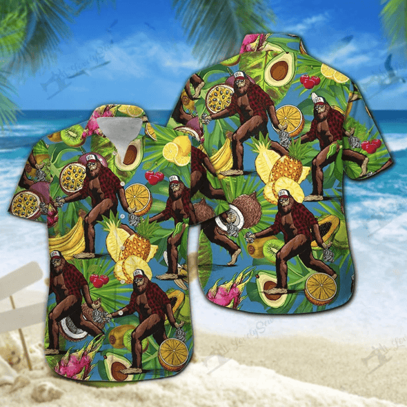Bigfoot Tropical Fruits Summer Vibe Hawaiian Aloha Shirts #DH