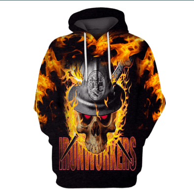 Amazing Ironworker Burning Skull Hoodie 3D All Over Print
