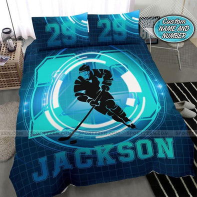 Hockey Techlight Custom Duvet Cover Bedding Set with Your Name and Number #2707DH