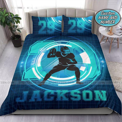 Football Techlight Custom Duvet Cover Bedding Set with Your Name and Number #2707DH