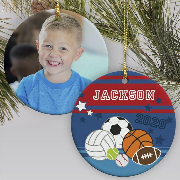 Personalized Kids Sport Lover Ornaments - Christmas Holiday Gift - Custom Photo and Name - Double Sides