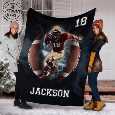 Custom Football Man Blanket With Name And Number