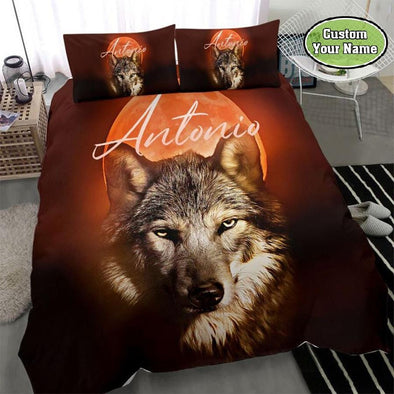 Wolf And Red Moon Custom Name Duvet Cover Bedding Set #2310DH