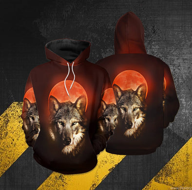 Wolf and Red Moon Hoodie 3D All Over Print #2310DH