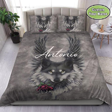 Wolf And Rose Moon Custom Name Duvet Cover Bedding Set #2310DH