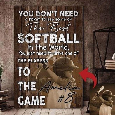 The Best Softball In The World Custom Canvas Prints