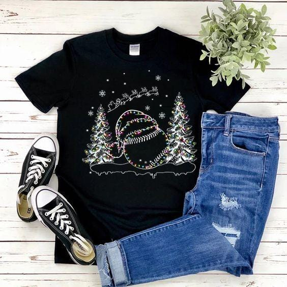 Softball Trees Christmas T-shirt