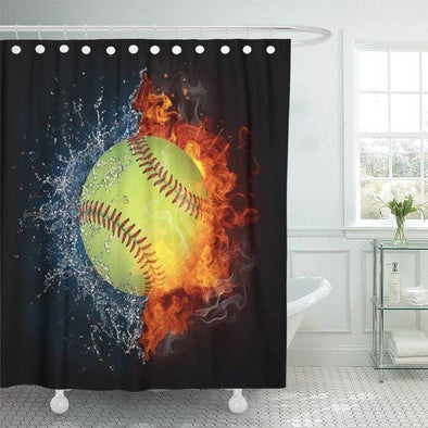 Softball Fire And Water Bathroom Shower Curtain