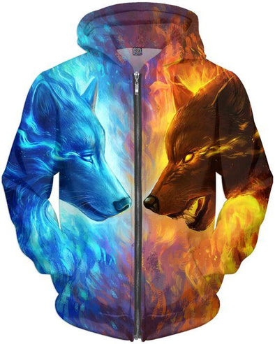 Wolf Ice And Fire Hoodie 3D All Over Print