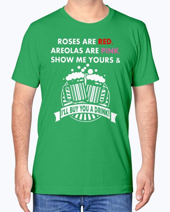 Fuel Apparel Bella + Canvas Unisex T-Shirt / Kelly / XS Funny Irish Rose Are Red Violet Are Blue St Patrick's Day