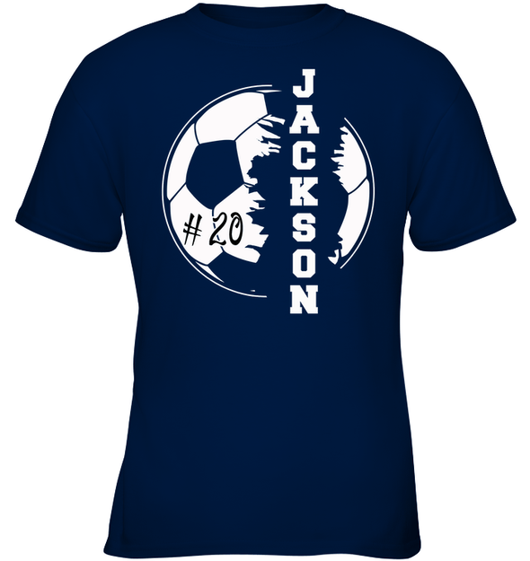 GearLaunch Apparel Kids Classic Tee / Navy / XS Customized Soccer T-shirt with name #193v