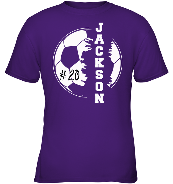 GearLaunch Apparel Kids Classic Tee / Purple / XS Customized Soccer T-shirt with name #193v