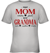 GearLaunch Apparel Kids Classic Tee / Sport Grey / S First mom now grandma Mother's day Custom T-shirt with name #0905H