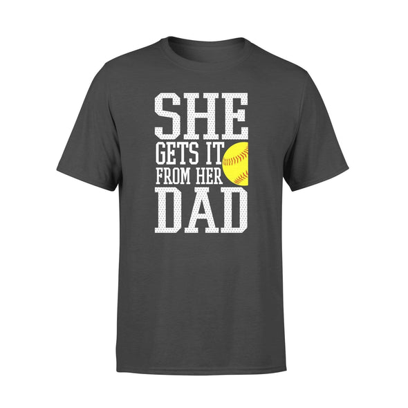Dreamship Apparel S / Black Custom T shirt Softball She Gets it from her dad