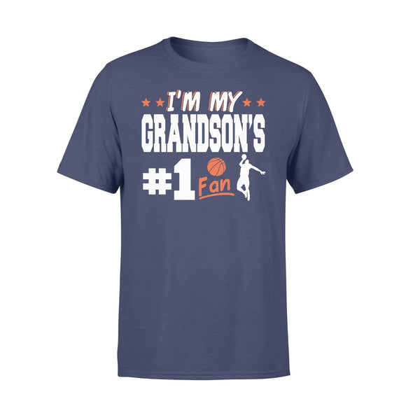Dreamship Apparel S / Navy Custom t-shirt Basketball I'm My Grandson #1 Fan