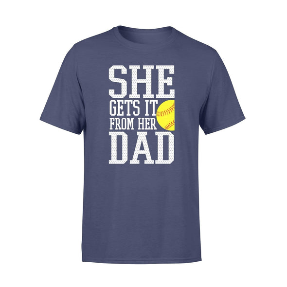 Dreamship Apparel S / Navy Custom T shirt Softball She Gets it from her dad