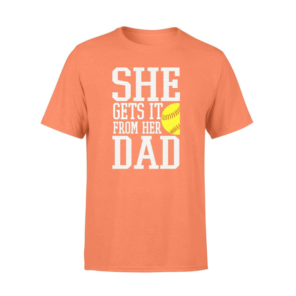 Dreamship Apparel S / Orange Custom T shirt Softball She Gets it from her dad