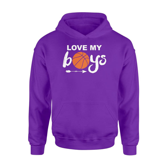Dreamship Apparel S / Purple Custom Hoodie Basketball Love My Boys