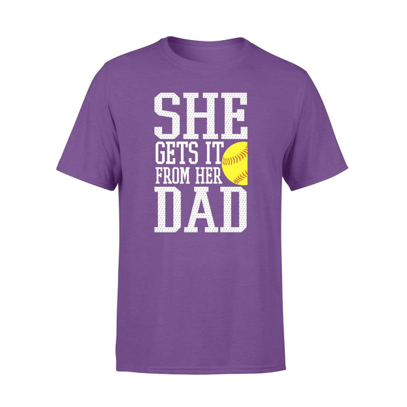 Dreamship Apparel S / Purple Custom T shirt Softball She Gets it from her dad