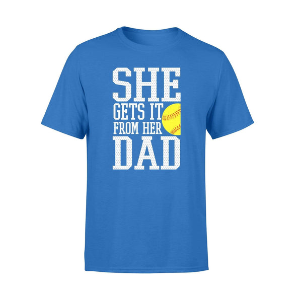 Dreamship Apparel S / Royal Custom T shirt Softball She Gets it from her dad