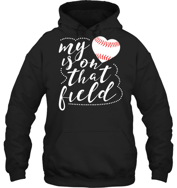 GearLaunch Apparel Unisex Heavyweight Pullover Hoodie / Black / S Baseball t shirt design My Heart is on that field