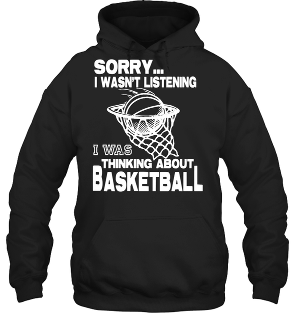 GearLaunch Apparel Unisex Heavyweight Pullover Hoodie / Black / S Basketball Thinking about basketball custom tshirt design
