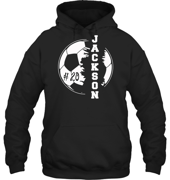 GearLaunch Apparel Unisex Heavyweight Pullover Hoodie / Black / S Customized Soccer T-shirt with name #193v