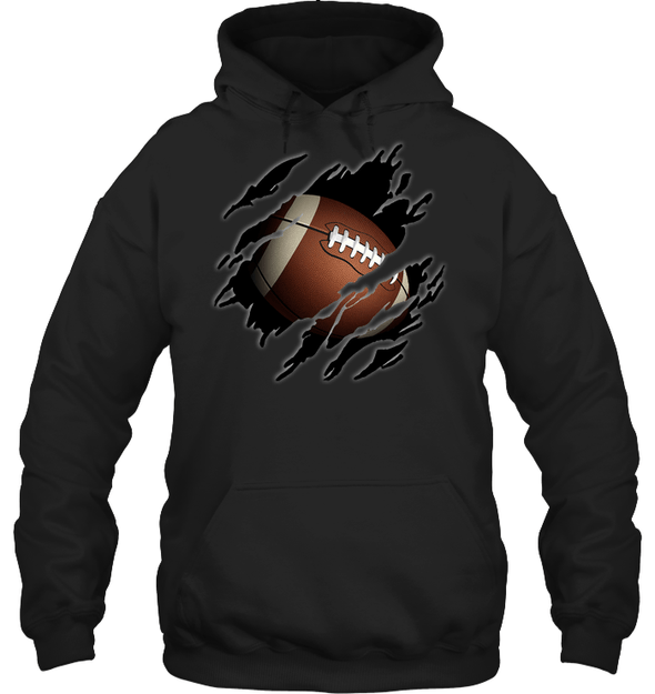 GearLaunch Apparel Unisex Heavyweight Pullover Hoodie / Black / S Football Ball  Picture custom t shirt design