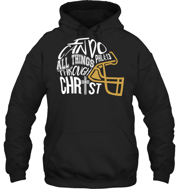 GearLaunch Apparel Unisex Heavyweight Pullover Hoodie / Black / S Football I can do all things through Christ custom t shirt design