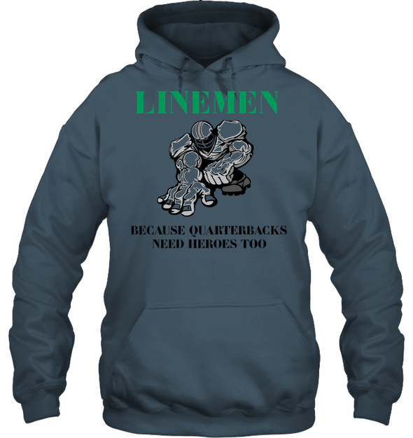 GearLaunch Apparel Unisex Heavyweight Pullover Hoodie / Dark Heather / S Football Quarterbacks need  heroes custom t shirt design