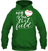 GearLaunch Apparel Unisex Heavyweight Pullover Hoodie / Irish Green / S Baseball t shirt design My Heart is on that field