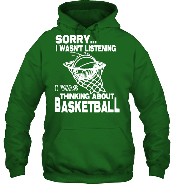 GearLaunch Apparel Unisex Heavyweight Pullover Hoodie / Irish Green / S Basketball Thinking about basketball custom tshirt design
