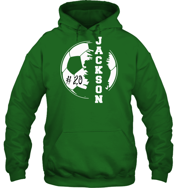 GearLaunch Apparel Unisex Heavyweight Pullover Hoodie / Irish Green / S Customized Soccer T-shirt with name #193v
