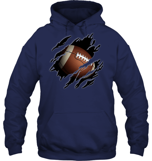GearLaunch Apparel Unisex Heavyweight Pullover Hoodie / Navy / S Football Ball  Picture custom t shirt design