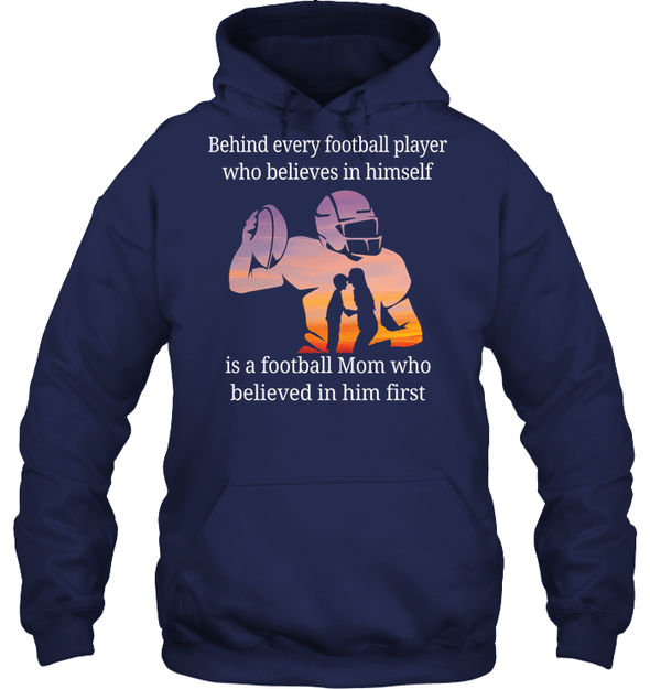GearLaunch Apparel Unisex Heavyweight Pullover Hoodie / Navy / S Football Believe in him custom t shirt design