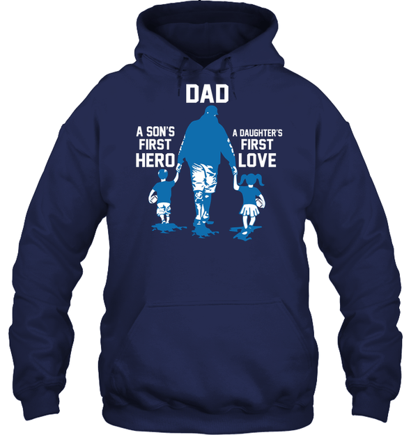 GearLaunch Apparel Unisex Heavyweight Pullover Hoodie / Navy / S Football First hero and love custom t shirt design