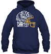 GearLaunch Apparel Unisex Heavyweight Pullover Hoodie / Navy / S Football I can do all things through Christ custom t shirt design