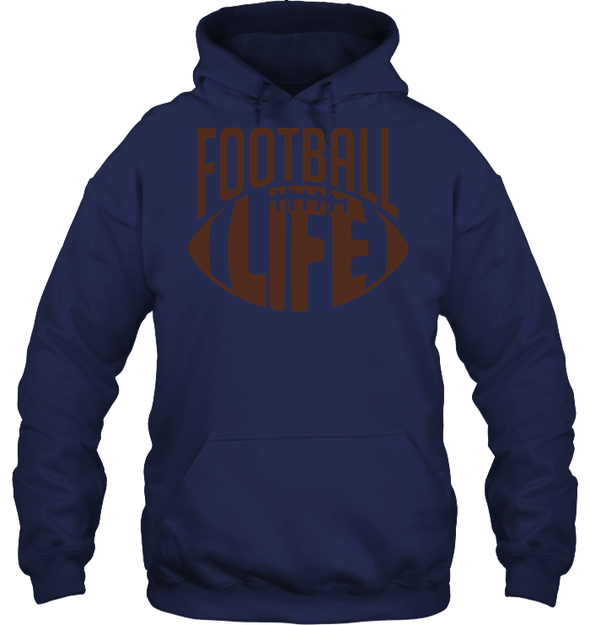 GearLaunch Apparel Unisex Heavyweight Pullover Hoodie / Navy / S Football Life custom t shirt design