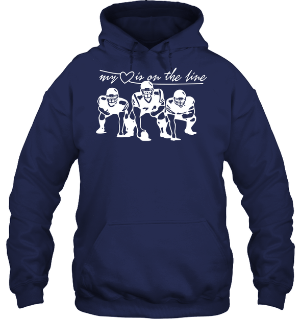GearLaunch Apparel Unisex Heavyweight Pullover Hoodie / Navy / S Football My love is on the line custom t shirt design