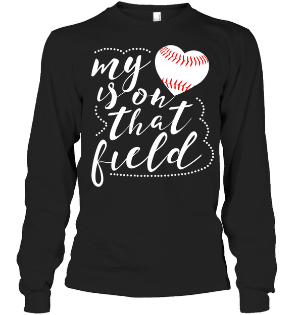 GearLaunch Apparel Unisex Long Sleeve Classic Tee / Black / S Baseball t shirt design My Heart is on that field