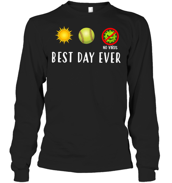 GearLaunch Apparel Unisex Long Sleeve Classic Tee / Black / S Best day ever Softball T-shirt